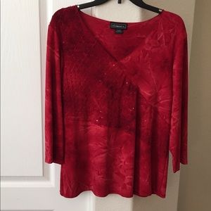 Elementz red top with bling